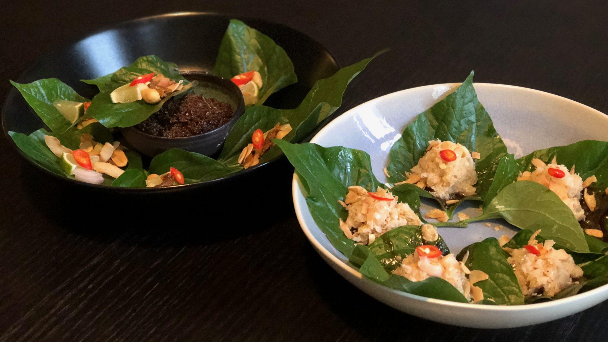Thaise hapjes met krab, lychee en groene mango