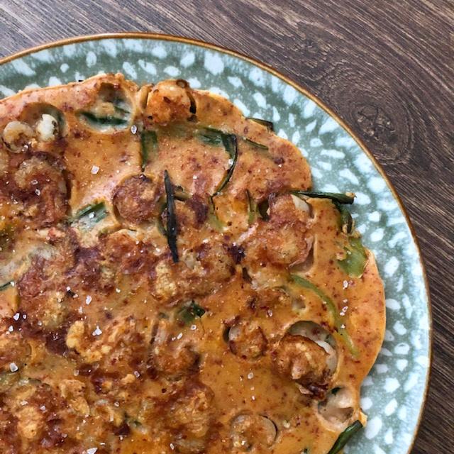 Koreaanse pannenkoek met garnaal
