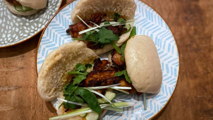 Gestoomde broodjes met Koreaans buikspek